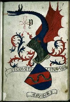 "Coat of arms of the Gevingy family. Their creed ""Secours le pauvre"" (Help the poor)."