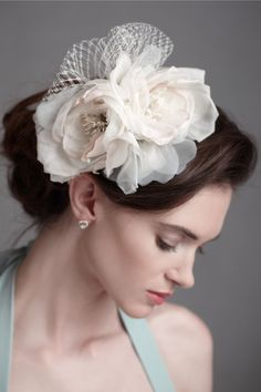 Petal Billow Headband.  Gently curling and nearly airborne, overlapping layers of silk and tulle bring a modern and joyous mood to your outfit. BHLDN
