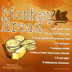 Time to monkey around in the kitchen. Try this delicious monkey bread recipe from Babble Disney Recipes, Disney Food, Karo Syrup, Monkey Bread, Disney Inspired, Bread Recipes, Breads, Biscuits, Muffins