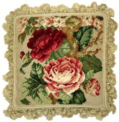 Dark Red Cabbage Roses Tassels Needlepoint Toss Pillow
