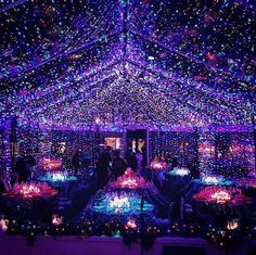 Many lights create floating wonder. Sweet 16 Party Decorations, Quince Decorations, Quinceanera Decorations, Wedding Decorations, Prom Themes, Wedding Themes, Wedding Venues, Wedding Favors, Space Wedding
