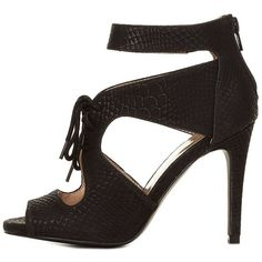 Charlotte Russe Black Snake-Textured Cut-Out Lace-Up Heels by... ($19) ❤ liked on Polyvore featuring shoes, pumps, black, black stiletto pumps, high heel platform pumps, black lace up pumps, peep toe platform pumps and platform pumps