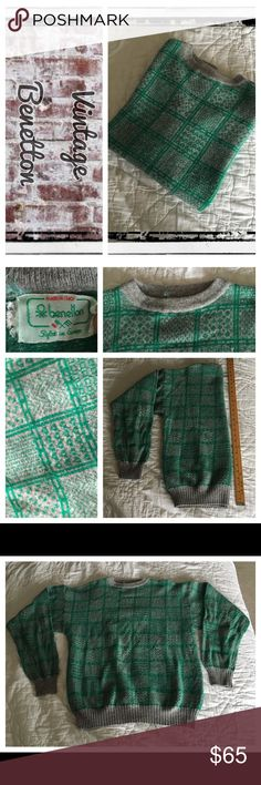 Vintage Benetton grn/gry light weight wool sweater Vintage circa 1990's. excellent condition! No flaws.                                                          REASONABLE OFFERS ONLY- -Smoke and pet free - I try to stay around 75% off MSRP; please keep this in mind when making offers.  -I do not model anything; everything looks different on everyone and I don't wasn't too Jade that. I will provide measurements if needed.  -NO HOLDS, NO TRADES, POSH RULES ONLY! United Colors Of Benetton…