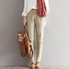 3e0e9e84816 Plus Size S-3XL Women Corduroy Pants Autumn Winter Vintage Fashion Straight Trousers  Casual Elastic Waist Harem Pants Girls