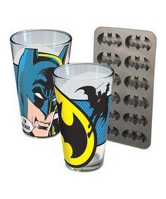 Loving this Batman Pint Glass & Ice Cube Tray Set on #zulily! #zulilyfinds