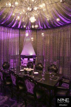 Palms Casino Las Vegas, Hotel Design, Restaurant Design by Bar Napkin Productions, Steakhouse Sheer Drapes, Drapery, Curtains, Carnegie Fabrics, Palms Hotel, Lobby Design, Interior Design Magazine, Center Table, Lounge Areas