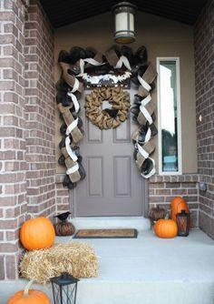 Simple front door halloween decor