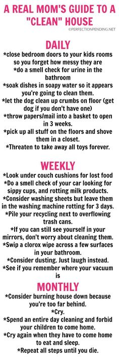 Are you looking for a realistic cleaning schedule you can follow to keep your house clean? Do you need tips for staying on top of a clean home? Then this hilarious guide for moms should be your go-to cleaning guide to help you stay organized. Or at least #parentingtips