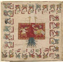 Le Codex Borbonicus, le manuscrit aztèque de l'extrême fin du XVe siècle. C'est un calendrier astèque de plus de 14 m de long représentant  le cycle sacré des 52 années solaires