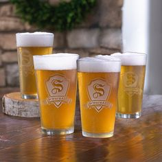 Personalized Shield Pint Glasses (Set of 4) - Wine Enthusiast