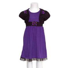 Amazon.com: Purple Black Knit Tank Studded Shrug 2pc Fall Dress Little Girls 4-14: RMLA: Clothing