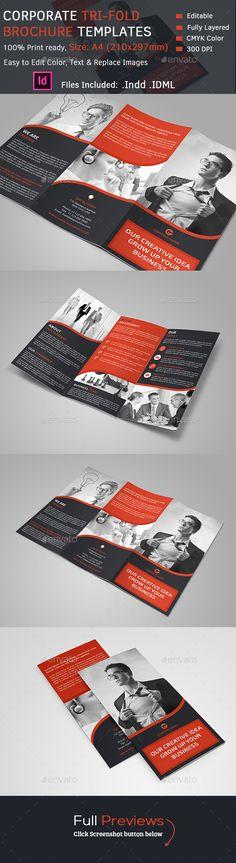 Corporate Tri-Fold Brochure Template InDesign INDD #design Download: http://graphicriver.net/item/corporate-trifold-brochure/14105203?ref=ksioks