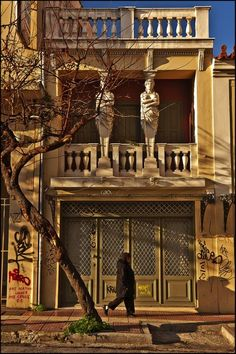 Residence with the Caryatids in ~ A vibrant, global city, Can't wait to go find this building next time I am in Athens. My Athens, Athens Greece, Cyprus Greece, Greece Architecture, World Travel Guide, Ancient Greece, Greece Travel, Cool Photos, Around The Worlds