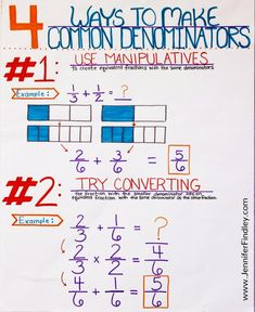 This post shares four ways to teach students to make common denominators when they are adding and subtracting fractions with unlike denominators. Use all four ways or choose the ones that work best for your students.