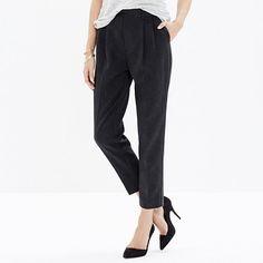 "Textured animal-print jacquard. A sleek tuxedo stripe. Our beloved waist-whittling high-rise trouser dressed up for party season. <ul><li>True to size.</li><li>Sit at waist.</li><li>Slouchy trouser fit, with a straight leg.</li><li>Front rise: 11 5/8"".</li><li>Inseam: 26"".</li><li>Leg opening for size 2: 12 1/2"".</li><li>50% poly/36% cotton/11% acrylic/2% other fibers/1% elastane.</li><li>Hand wash.</li><li>Import.</li><li>Madewell.com only.</li></ul>"