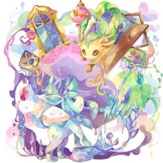 Glaceon and Leafeon by 唄