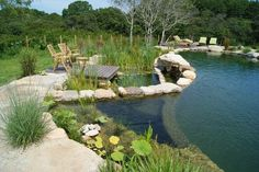 Natural swimming pools use plants or a combination of plants and sand filters to keep the water clean and clear without chemicals