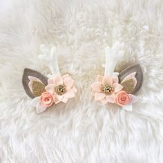 Deer+Antler+Hair+Clip+set+//+peaches+and+cream+by+BakerBlossoms