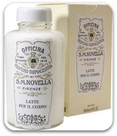 Santa Maria Novella  The first time I learned of this line, I was absolutely smitten. Founded in 1221 (!) in Florence, Italy by Dominican friars, Officina Profumo-Farmaceutica di Santa Maria Novella is one of the oldest apothecary pharmacies in the world. I love the Body Milk that comes in a thick, sturdy glass bottle and rustic cardboard box.