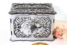 Disney Wedding Card Box With Lock With Slot, Fairy Tale Wedding Money Box Little Mermaid Wedding Car