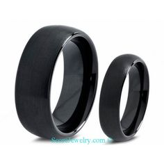 His & Hers Black Tungsten Couple Wedding Band Set with Brushed Finish and Domed Edges