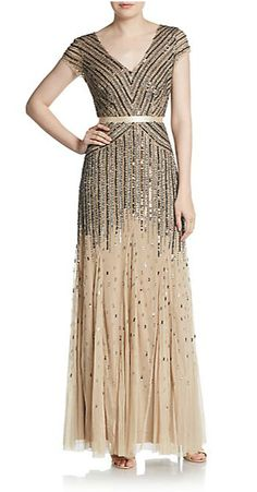 Adrianna Papell | Embellished Cap Sleeve Gown | SAKS OFF 5TH