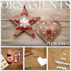 Top 36 Simple and Affordable DIY Christmas Decorations- Burlap ornaments Burlap Christmas Decorations, Christmas Ornaments To Make, Noel Christmas, Country Christmas, Homemade Christmas, Burlap Ornaments, Tree Decorations, Cowboy Christmas, Fabric Ornaments
