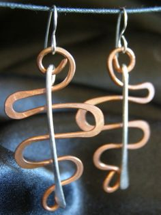 Hammered Copper RECYCLED Wire Spiral Swirl dangle by LaraOwensArt