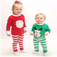 b9efa0cac6 2016 Cotton Kids Christmas Baby Clothes Boys And Girls Sleepwear Kids  Nightwear Children Clothing Set Pajama