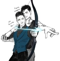 That's awesome. Alec teaching Magnus how to fire a bow