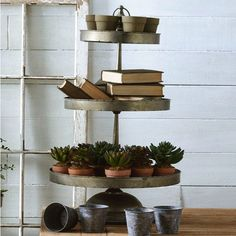 Round Metal 3 Tier Serving Tray