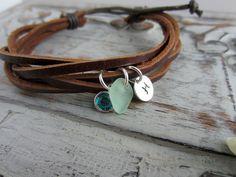 Brown Leather and Hemp Genuine Sea Glass bracelet by BeachCoveJewelry, $30.00