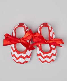 Take a look at this Red & White Zigzag Bootie - Infant on zulily today!