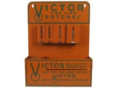 Antique Victor Tire Life Patches Retail Store Display at Relique.com