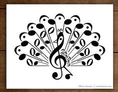Music Notes Art, Music Wall Art, Poema Visual, Musician Gifts, Wall Art Designs, Design Art, Musicals, Fine Art Prints, Peacock Print