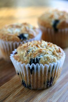 blueberry muffins {with toasted coconut}