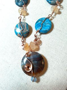 Blue Dyed Crazy Lace Agate Citrine and Dyed by Justatishdesigns
