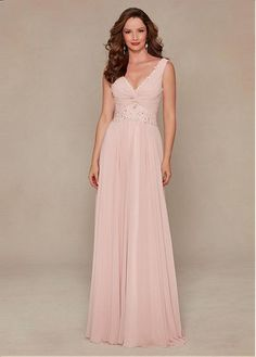 Amazing Chiffon Tank Sleeves V-neck Floor-length A-line Mother of the Bride Dresses