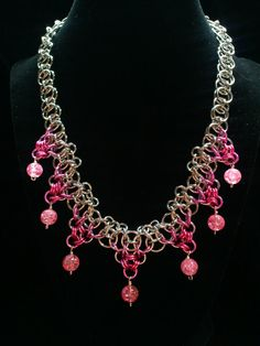 Helm / Lancelot and pink glass bead chainmaille by galiam34jewelry, $30.00