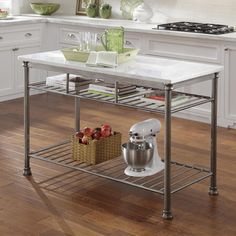 This simple, basic marble & wrought iron kitchen island could also be used in an additional space in your kitchen against an empty wall to hold supplies. You can find it on Amazon.com.