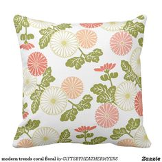 Shop modern trends coral floral throw pillow created by GIFTSBYHEATHERMYERS. Coral Throw Pillows, Floral Cushions, Animal Skulls, Custom Pillows, Pink And Green, Trends, Modern, Designers, Gifts