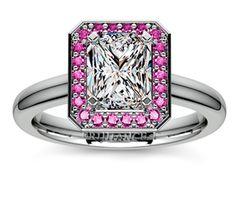 Radiant Halo Pink Sapphire Gemstone Engagement Ring in Platinum  http://www.brilliance.com/engagement-rings/halo-pink-sapphire-gemstone-ring-platinum