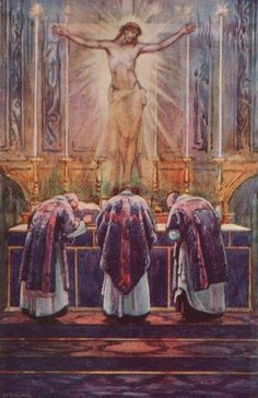 """""""We ought to annihilate ourselves before God, after the example of His profound annihilation in the Sacrament of the Eucharist; and we should make our examination of conscience, for we must be in a state of grace to be able to assist properly at Mass. If we knew the value of the holy Sacrifice of the Mass, or rather if we had faith, we should be much more zealous to assist at it.""""- St. John Vianney"""