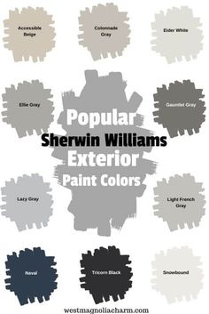 Popular Sherwin Williams Exterior Paint Colors - West Magnolia Charm Check out some of the most popular Sherwin Williams exterior paint colors. These Sherwin WIlliams paint colors are guaranteed to boost the curb appeal of your homes exterior. Exterior Gris, White Exterior Paint, Exterior Paint Colors For House, Paint Colors For Home, Outside House Paint Colors, Grey Paint Colors, Diy Exterior House Painting, Gray Exterior Houses, Stucco House Colors