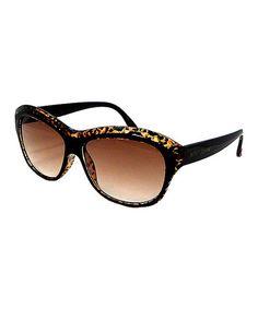 32a0bd07a4 Betsey Johnson Brown   Black Abstract Rectangle Sunglasses