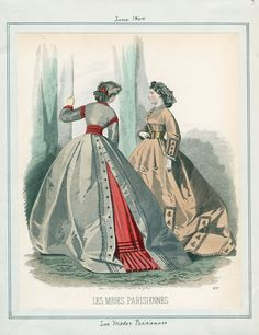Les Modes Parisiennes v. 44, plate 3 June, 1864. Fantastic back detail on the left, and great color contrast