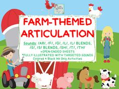 Moo moo, neigh neigh, oink oink! Come have some fun on the farm! Our latest comprehensive articulation document has a cute and fun farm theme and we would love for you to come and check it out! We have included a variety of common speech sounds with adorable farm animal pictures that kids of all ages will love in the initial, medial and final position of words.