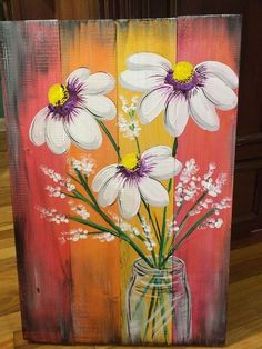 Love this flower painting on wood. Love this flower painting on wood. Pallet Painting, Pallet Art, Tole Painting, Painting On Wood, Painting Flowers, Fence Painting, Painting Pictures, Art On Wood, Wood Paintings