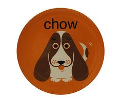 """Cute """"Chow Hound"""" plates with a basset hound!"""