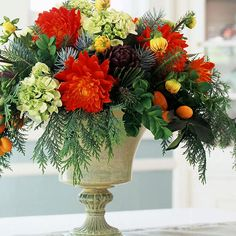 Evergreen and Flower Centerpiece